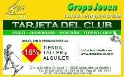 tarjeta del Club Grupo Joven | Club de esquí en Madrid | Club de snowboard en Madrid | Tienda | Viajes | Campamentos