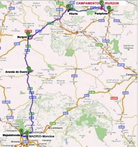 Rutas de autobús Campamento Navarra