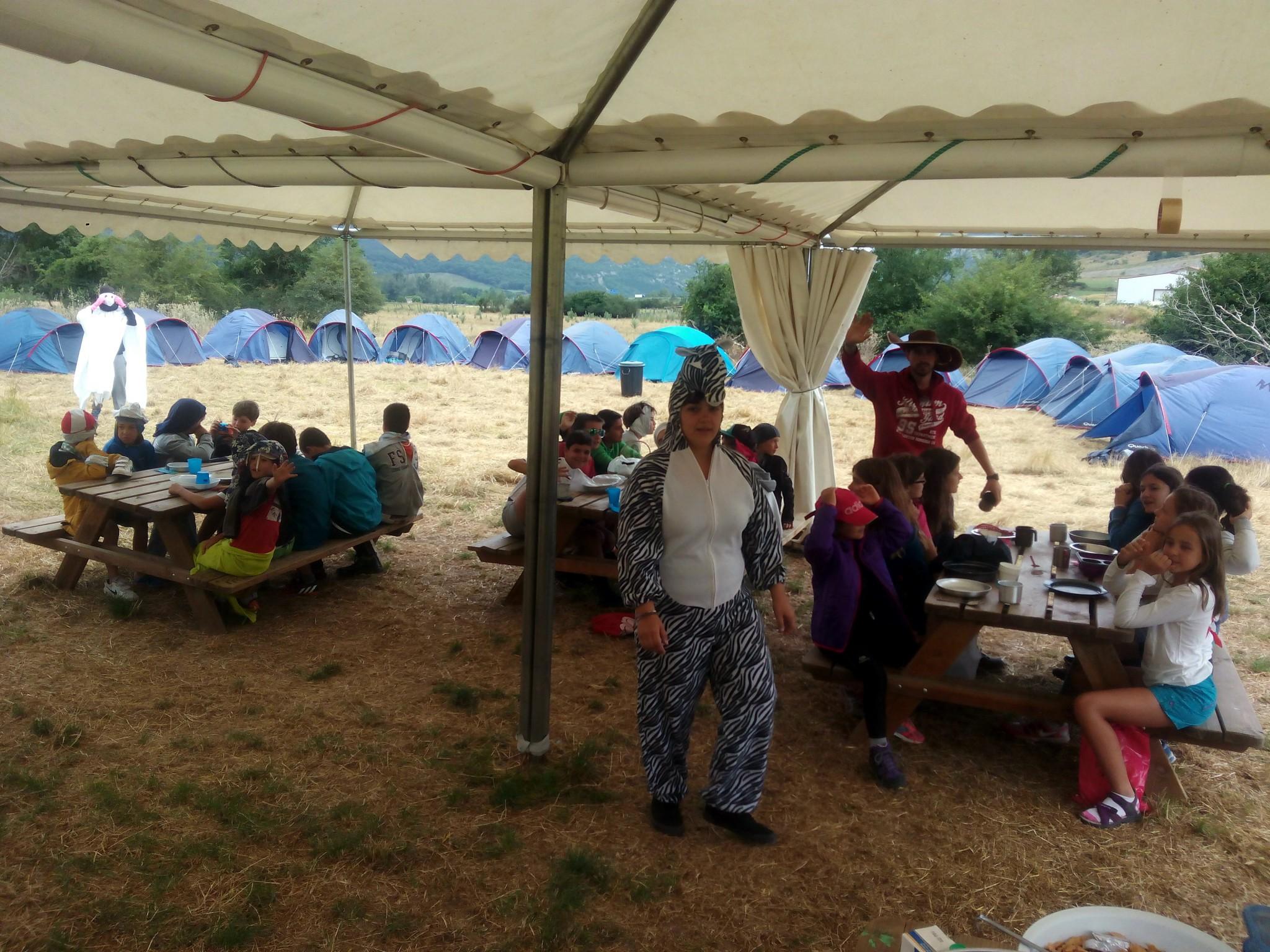 Campamentos de verano en Navarra instalaciones carpa multiusos Grupo Joven