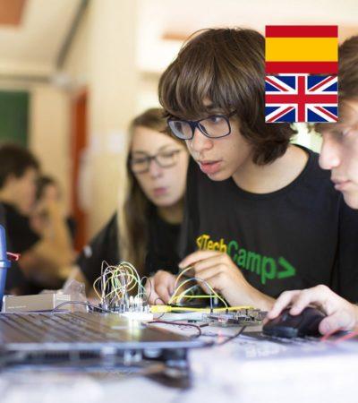 Campamento de tecnología con Inglés y Multiaventura en España Leon ciencia robótica multiaventura y agua